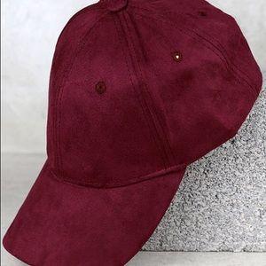 Burgundy Suede Baseball Cap
